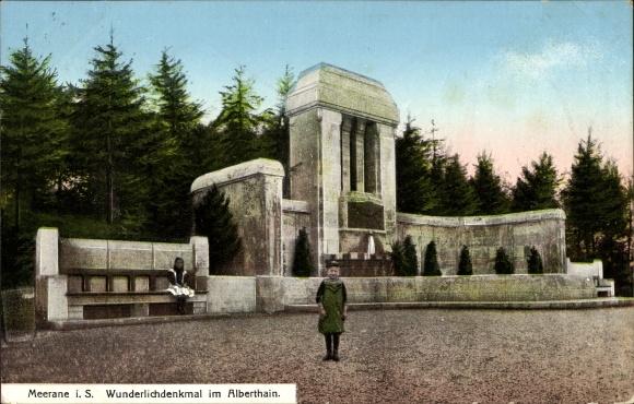 Ak Meerane in Sachsen, Wunderlichdenkmal im Alberthain