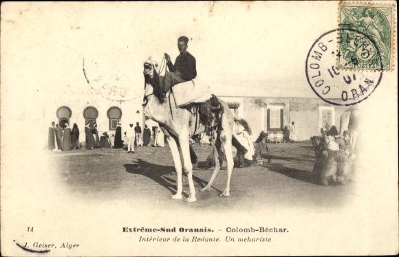 https://img.oldthing.net/18012/29864342/0/n/Ak-Colomb-Bechar-Algerien-Extreme-Sud-Oranais-Interieur-de-la-Redoute-Un-mehariste-Kamel.jpg