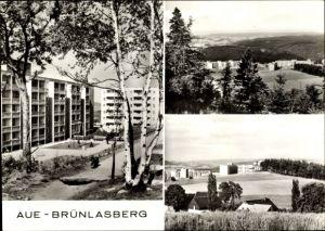 Ak Brünlasberg in Aue im Erzgebirge Sachsen, Panorama vom Ort und Blick auf Neubauten