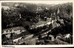 Ak Rübeland Oberharz am Brocken, Fliegeraufnahme vom Ort, Bahnhof