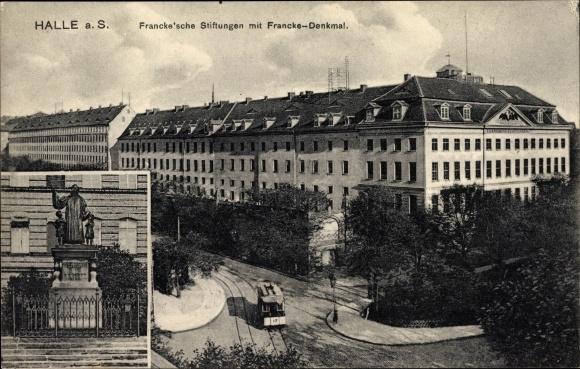 Ak Halle an der Saale, Francke'sche Stiftungen mit Francke Denkmal