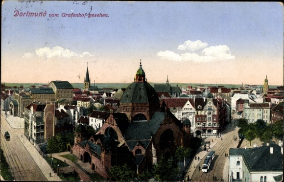 Judaika Ak Dortmund im Ruhrgebiet, Blick auf die Stadt vom Grafenhof, Synagoge