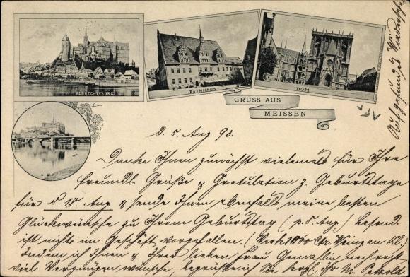 Vorläufer Ak Meißen in Sachsen, Albrechtsburg, Rathaus, Dom