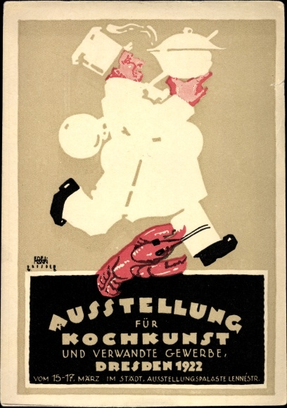Künstler Ak Edelmann, Dresden, Ausstellung für Kochkunst 1922, Koch, Hummer