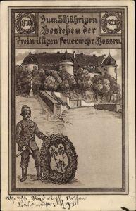 Künstler Ak Nossen Landkreis Meißen, 50jh Bestehen der Freiwilligen Feuerwehr 1920
