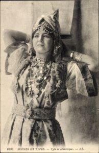 Ak Scenes et Types, Type de Mauresque, Portrait einer jungen Araberin, Maghreb