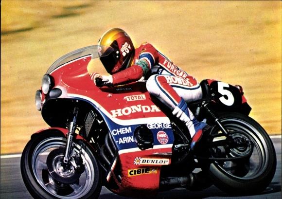 Ak Rennfahrer Jean Claude Chemarin auf einem Motorrad, Honda 941