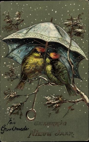 Präge Litho Glückwunsch Neujahr, Zwei Vögel unter einem Regenschirm im Schneefall