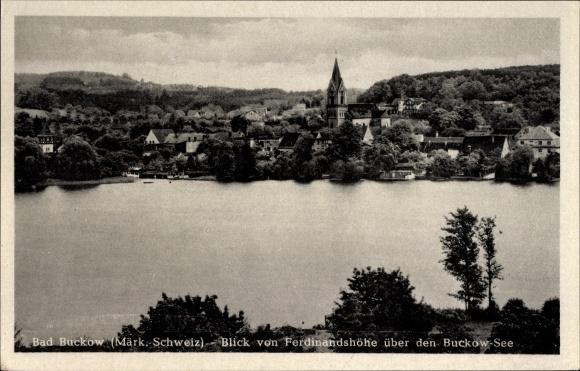 Ak Buckow in der Märkischen Schweiz, Blick von Ferdinandshöhe über den Buckow See