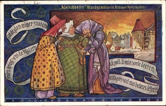 Künstler Ak Hansestadt Bremen, Klatschbasen Wandgemälde im Bremer Ratskeller
