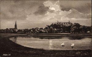 Mondschein Künstler Ak Plön in Schleswig Holstein, Wasserpartie mit Blick auf Ortschaft, Schwäne