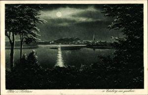 Mondschein Künstler Ak Plön in Schleswig Holstein, Blick auf Ortschaft von Edeberg aus gesehen