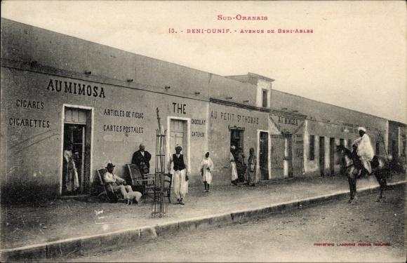 Ak Beni Ounif Algerien, Avenue de Beni Ables, Au Petit St. Thomas, Au Mimosa