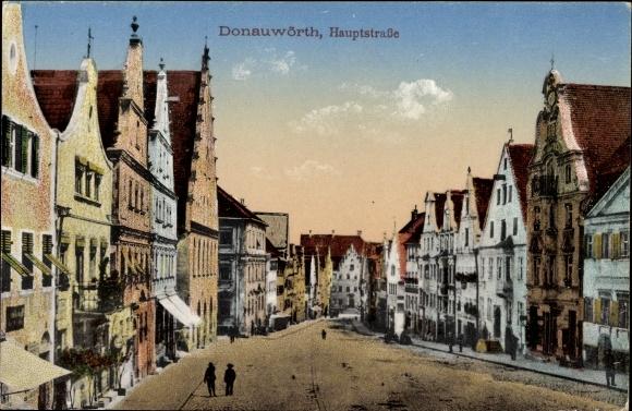 Ak Donauwörth im schwäbischen Kreis Donau Ries, Blick in die Hauptstraße