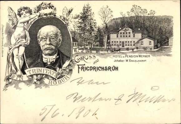 Litho Friedrichsruh Aumühle, Hotel und Pension Werner, Inh. W. Engelhardt, Fürst Otto von Bismarck