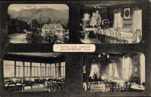 Ak Dahlerbrück Dahlersbrück Schalksmühle im Sauerland, Hotel Aug. Hencke, Speisesaal, Veranda