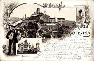 Vorläufer Litho Königswinter im Rhein Sieg Kreis, Gruß vom Drachenfels, Drachenburg, Gitarrenspieler
