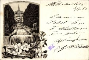 Vorläufer Litho Kassel in Hessen, Gruß von Wilhelmshöhe, Herkules, Kaskaden