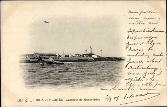 Ak Montevideo Uruguay, Isla de Florès, Lazareto, Blick auf den Ort vom Wasser aus