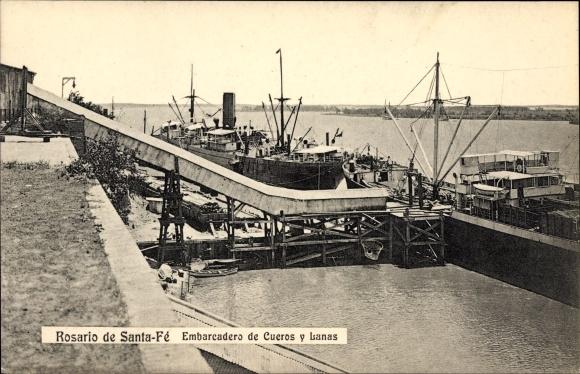 Ak Rosario Argentinien, Embarcadero de Cueros y Lanas, Anlegestelle