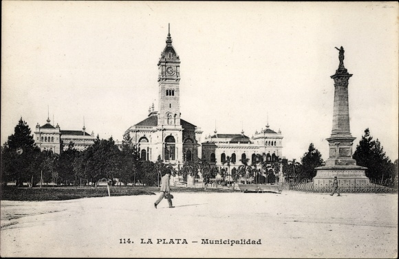 Ak La Plata Argentinien, Municipalidad, Denkmal, Uhrturm