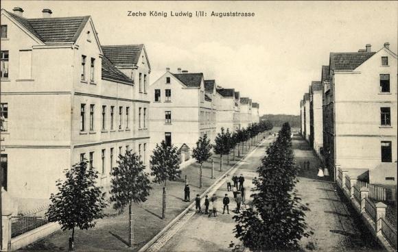 Ak Recklinghausen im Ruhrgebiet, Zeche König Ludwig I/II, Auguststraße, Wohnhäuser