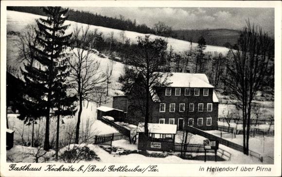 Ak Hellendorf Bad Gottleuba in Sachsen, Gasthaus Keckritz, Winter