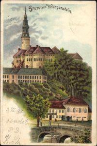 Litho Weesenstein Müglitztal in Sachsen, Schloss Weesenstein