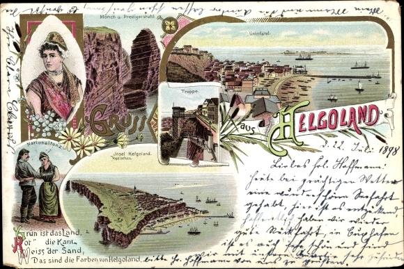 Litho Helgoland in Schleswig Holstein, Mönch, Predigerstuhl, Nationaltanz, Unterland, Treppe