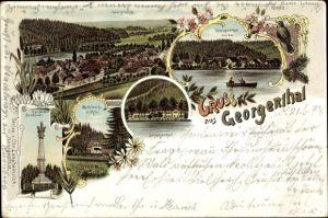 Litho Georgenthal im Tal der Apfelstädt Thüringen, Rodebachmühle, Candelaber Denkmal, Schützenhof