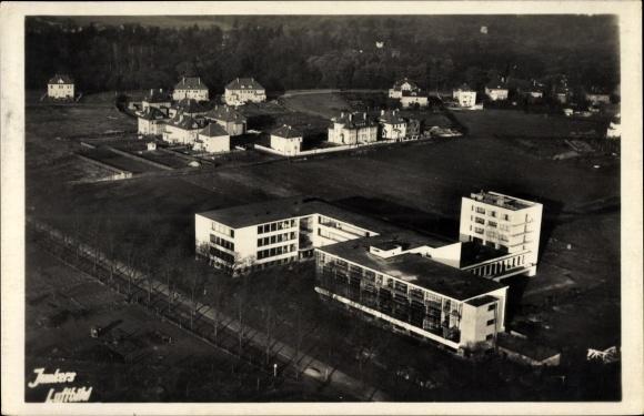 Ak Dessau in Sachsen Anhalt, Walter Gropius, Bauhaus Neubau 1925/26, Junkers Fliegeraufnahme