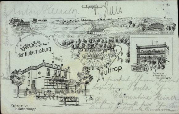 Litho Huttrop Essen Nordrhein Westfalen, Gruß aus der Hubertusburg, Inh. H. Robert Kopp