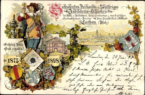 Ganzsachen Wappen Litho Landau in der Pfalz, 16. Verbands und 25jh Jubiläumsschießen Juli 1898