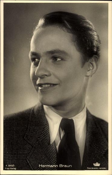 Ak Schauspieler Hermann Braun, Portrait, Ross Verlag Nr. A 3315/2