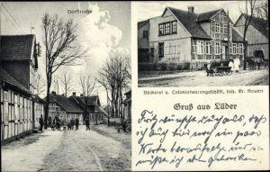 Ak Lüder Lüneburger Heide, Dorfstraße, Bäckerei und Kolonialwaren, Inh. Fr. Kauert, Hundekarren