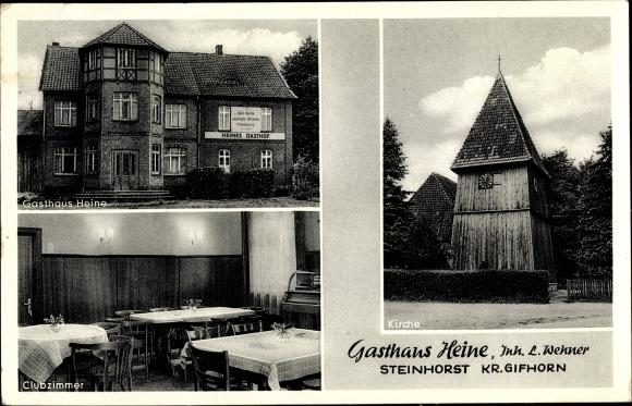 60% Freigabe suche nach neuesten Brandneu Ak Steinhorst in Niedersachsen, Gasthaus Heine, Inh. L. Wehner, Klubzimmer,  Jukebox, Kirche