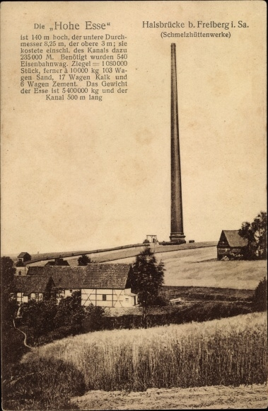 Ak Halsbrücke in Sachsen, Blick auf die Hohe Esse, Industriegebiet, Schmelzhüttenwerke