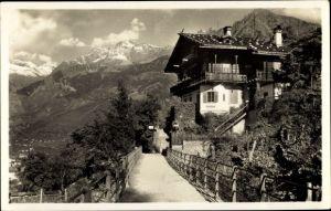 Ak Merano Meran Südtirol, Passeggiata Tappeiner col gruppo di Tessa, Haus Saxifraga