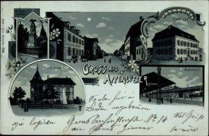 Mondschein Litho Appenweier im Ortenaukreis, Bahnhof, Villa Siebert, Rathaus