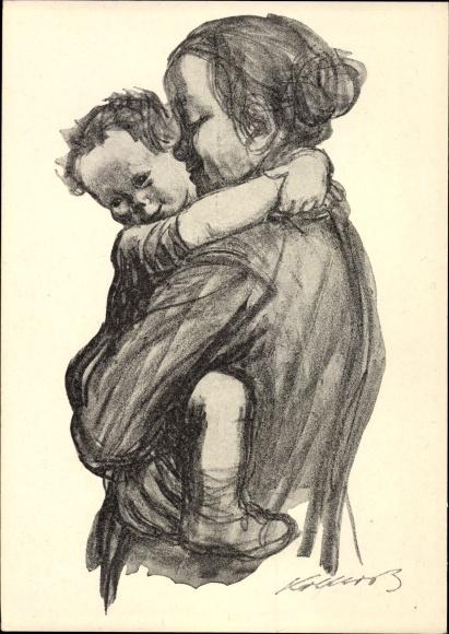 Künstler Ak Kollwitz, Käthe, Mutter mit Jungen auf dem Arm