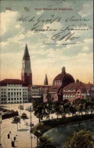 Ak Kiel in Schleswig Holstein, Neues Rathaus und Stadttheater, Straßenbahnen