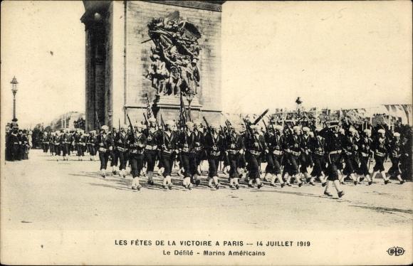 Ak Paris, Les Fêtes de la Victoire, 14 Juillet 1919, Le Défilé, Marins Américains