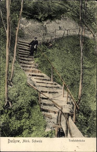 Ak Buckow in der Märkischen Schweiz, Partie an der Teufelsbrücke