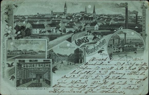Mondschein Litho Neunkirchen Saarland, Bergmanns Lazarett, Kaufhaus B. Schweriner u. Co.,Grube König