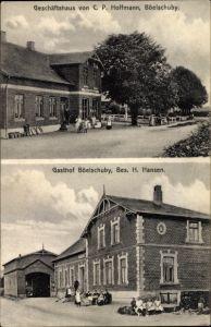 Ak Böelschuby Böel in Schleswig Holstein, Geschäftshaus von C. P. Hoffmann, Gasthof von H. Hansen