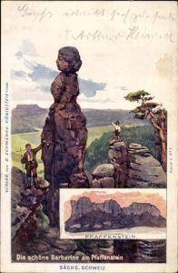 Künstler Ak Königstein Elbe Sächsische Schweiz, Die schöne Barbarine am Pfaffenstein, Berggesichter