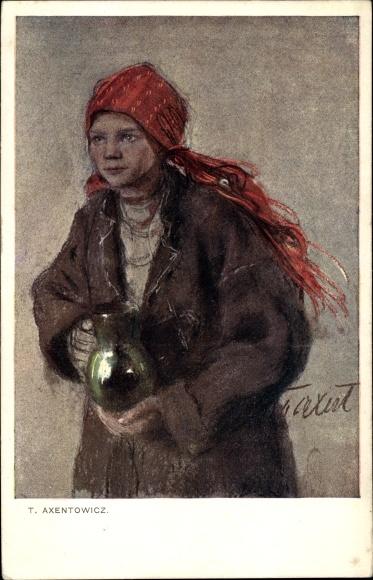 Künstler Ak Axentowicz, Teodor, Portrait eines Mädchens mit rotem Kopftuch