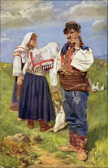 Künstler Ak Kleinmond, L., Narodne nosn je sjeverne Dalmacije, Mann mit Zigarette und Frauen