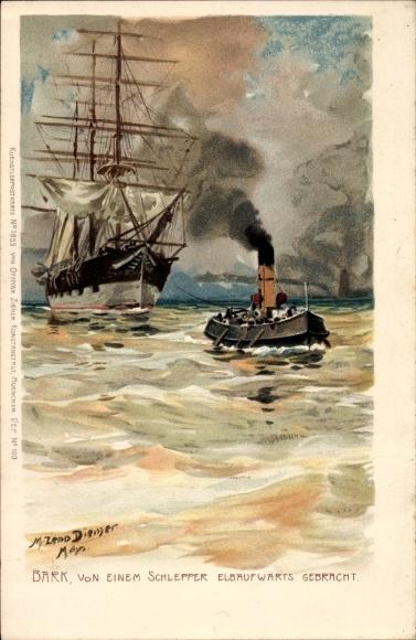 Künstler Litho Diemer, Zeno, Bark von einem Schlepper elbaufwärts gebracht, Segelschiff, Zieher