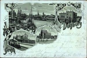Mondschein Litho Duisburg im Ruhrgebiet, Hafen, Zentralbahnhof, Töchterschule, Realgymnasium